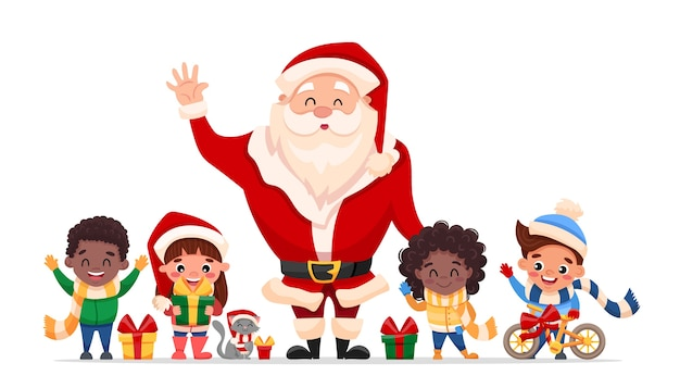 Concepto de feliz navidad y próspero año nuevo, personajes de dibujos animados lindo santa claus, niños felices, gato y regalos.