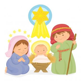 Concepto de feliz navidad con sagrada familia
