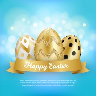 Concepto de feliz pascua con huevos de oro 3d realistas, cinta, texto sobre fondo azul bokeh. diseño decorativo de primavera.
