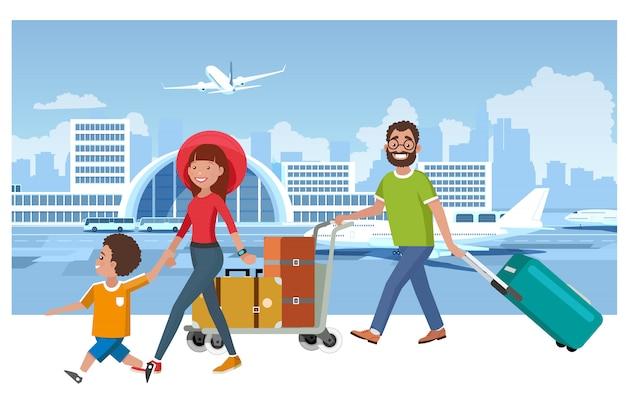 Concepto feliz del vector del viaje de las vacaciones de verano de la familia
