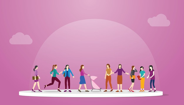 Concepto de feminismo con niña mujer de pie junto con la ilustración de vector de estilo plano moderno