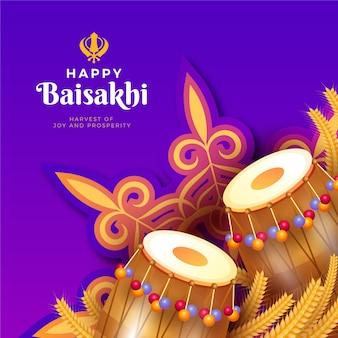 Concepto de festival feliz baisakhi de diseño plano