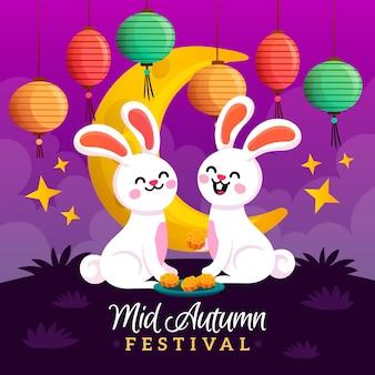 Concepto de festival de medio otoño dibujado a mano