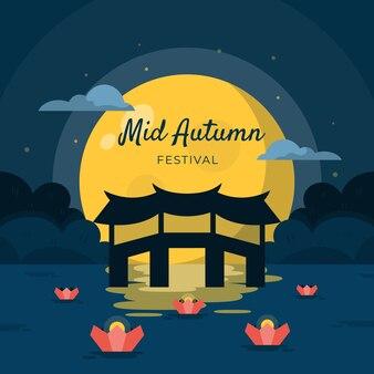 Concepto de festival del medio otoño en diseño plano