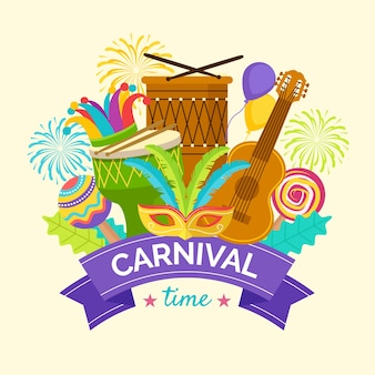Concepto festivo de carnaval de diseño plano