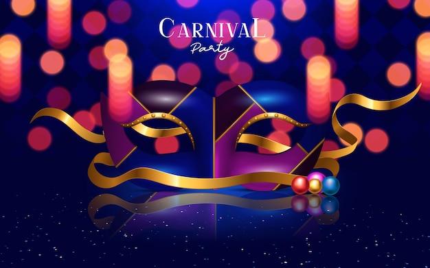 Concepto festivo de carnaval feliz con máscara de trompeta musical