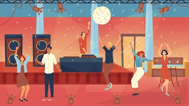 Concepto de fiesta de baile grupo de gente de moda está bailando en fiesta de dj