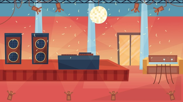 Concepto de fiesta de baile. interior de club de baile nocturno de moda vacía con iluminación profesional, cabina de dj, confeti. lugar moderno para conocidos, fiestas y cumpleaños. ilustración de vector plano de dibujos animados.