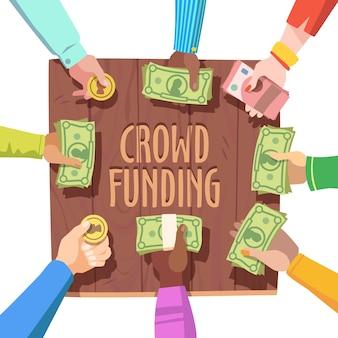 Concepto de financiación de multitudes