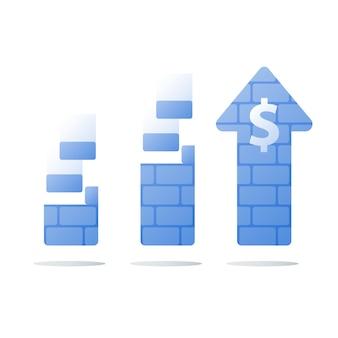 Concepto financiero, aumento de ingresos, crecimiento de ingresos, ganar más dinero