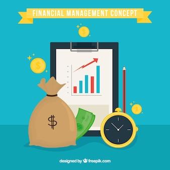 Concepto financiero con dinero, carpeta y reloj