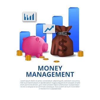 Concepto financiero de gestión de dinero presupuestado con ilustración de hucha rosa