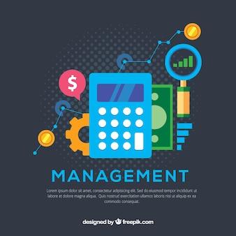 Concepto de finanzas con calculadora y elementos