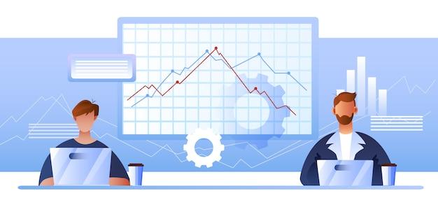 Concepto de finanzas en colores azules con personajes femeninos y masculinos, diagramas, computadoras portátiles