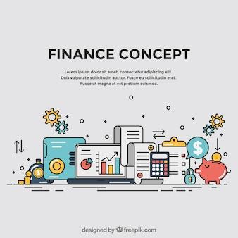 Concepto de finanzas con elementos coloridos