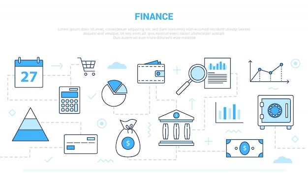 Concepto de finanzas empresariales con estilo de línea de icono conectado con estilo de color moderno blanco azul