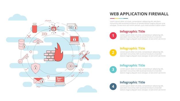 Concepto de firewall de aplicación web waf para banner de plantilla infográfica con vector de información de lista de cuatro puntos