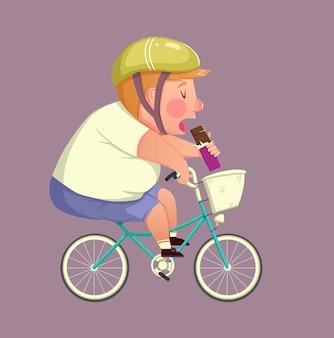 Concepto de fitness, deporte, salud, ejercicio, entrenamiento y estilo de vida - niño gordo divertido montando bicicleta y comiendo chocolate. ilustración vectorial
