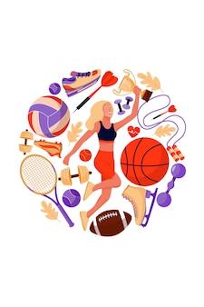 Concepto de fitness con deportista y equipamiento deportivo.
