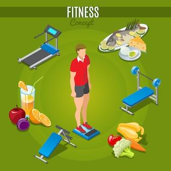 Concepto de fitness isométrico con hombre de pie en escalas deporte entrenadores alimentos saludables y bebidas aisladas