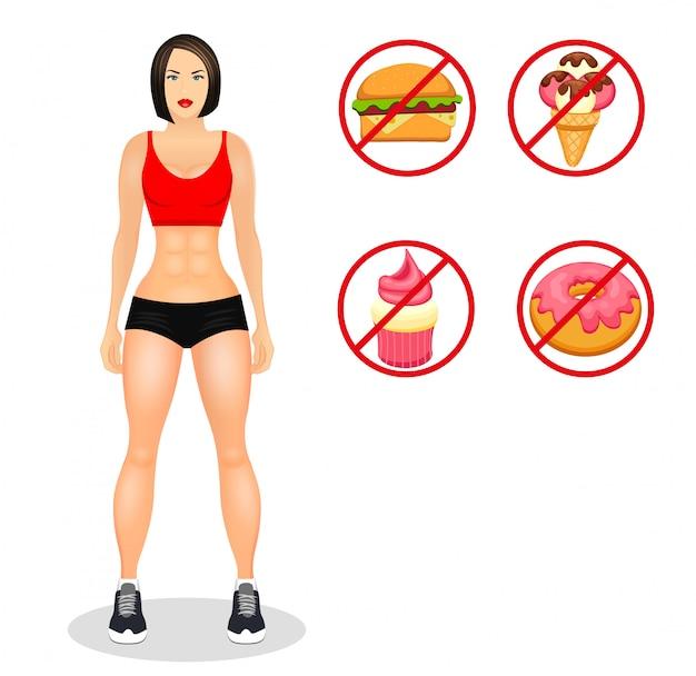 Concepto de fitness con la mujer en forma en ropa deportiva. modelos musculosos de dibujos animados de niña. alimentos útiles y nocivos. ilustración vectorial aislado