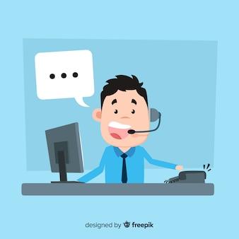 Concepto flat de agente de call center