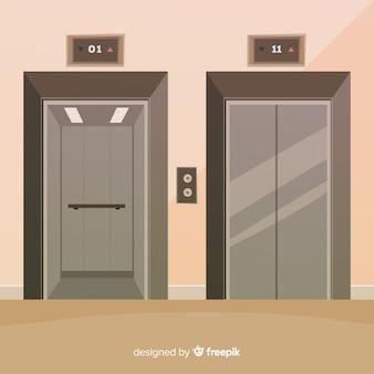 Concepto flat de ascensor con puerta abierta y cerrada