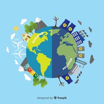 Concepto flat del ecosistema y contaminación