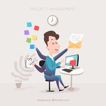 Concepto flat de gestión de proyectos con hombre de negocios