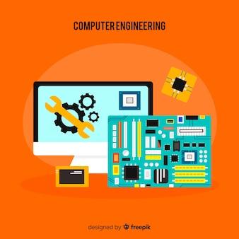 Concepto de flat de ingeniería de ordenadores