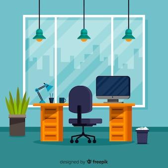 Concepto flat de oficina