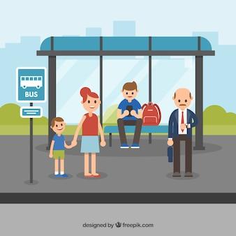 Concepto flat de parada de autobús