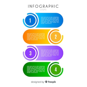 Concepto flat de pasos infográficos