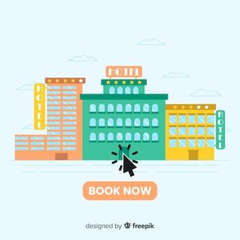 Concepto de flat de reserva de hotel