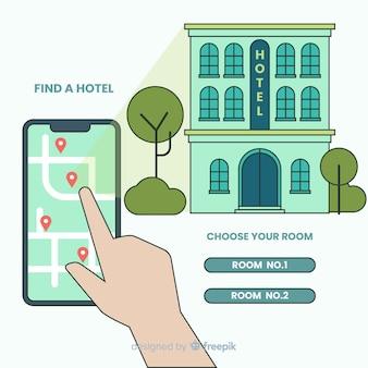 Concepto flat de reserva de hotel