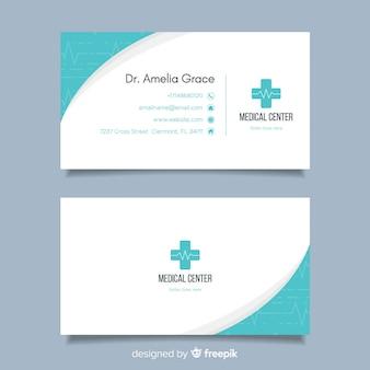 Concepto flat de tarjeta de visita para médico o hospital