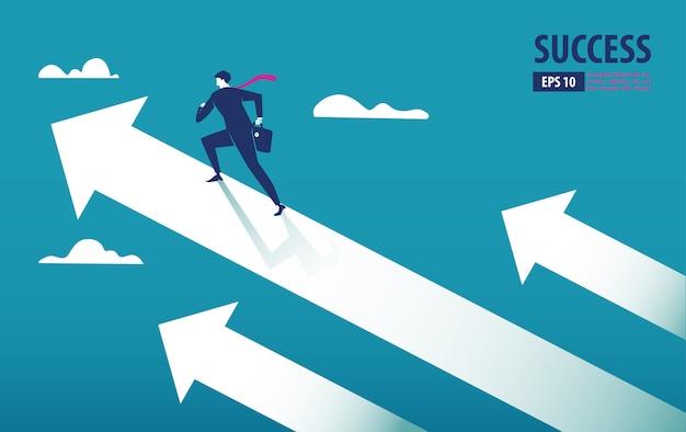 Concepto de flecha empresarial con empresario en flecha volando hacia el éxito