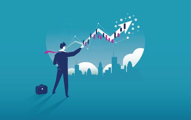 Concepto de flecha empresarial con empresario y retorno de la inversión roi