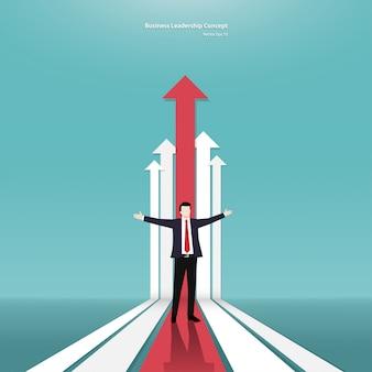 Concepto de flecha empresario