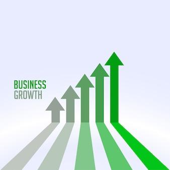 Concepto de flecha de éxito empresarial y la tabla de crecimiento