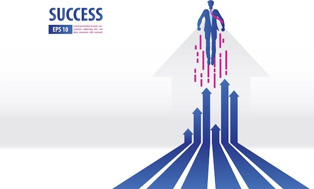 Concepto de flechas de negocios con el empresario volando hacia el éxito