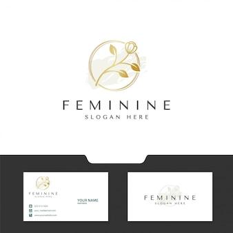 Concepto de flor para diseño de logotipo femenino
