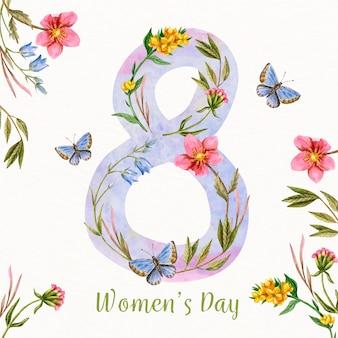 Concepto floral colorido del día de la mujer