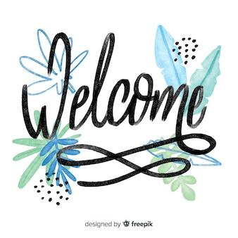 Concepto floral de lettering de welcome