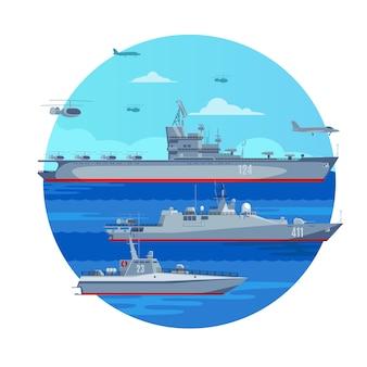 Concepto de flota de batalla marina