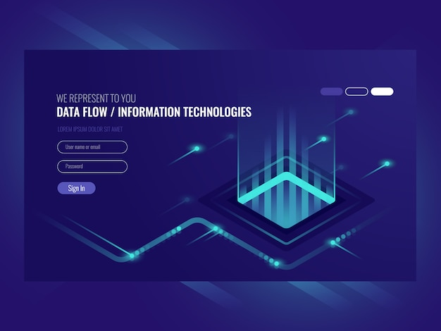 Concepto de flujo de datos, tecnologías de la información, concepto de alta tecnología