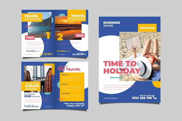 Concepto de folleto de paquete de viaje