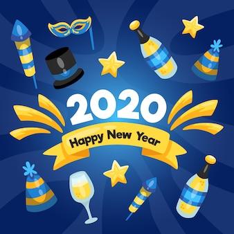 Concepto de fondo de año nuevo 2020 de diseño plano