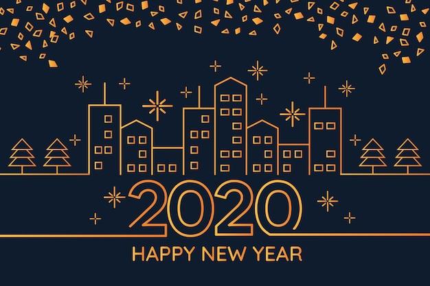 Concepto de fondo de año nuevo 2020 en estilo de contorno