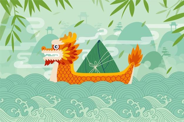 Concepto de fondo de barco de dragón